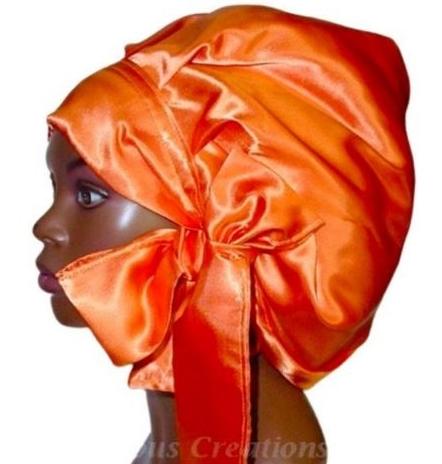 Satin Bonnet (Tangerine-Orange) Satin Sleep Bonnet