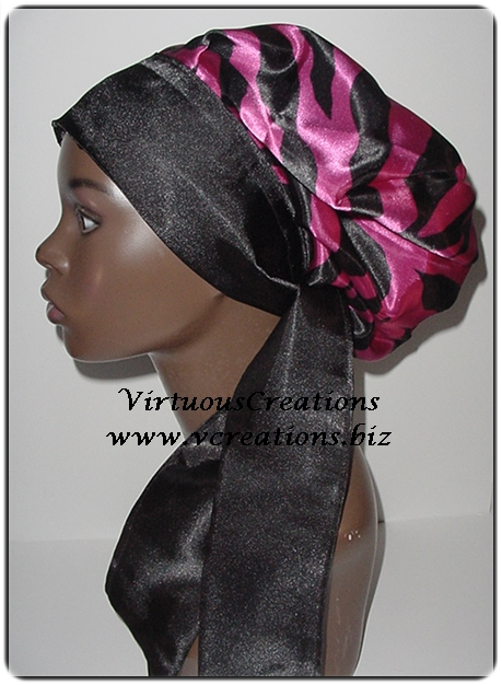 Satin Sleep Cap - Satin Bonnet (Zebra, Magenta, Fuchsia and Black) Sleep Bonnet - Sleep Cap