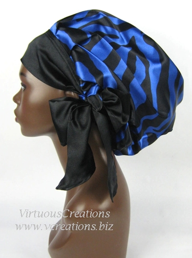 Satin Sleep Cap-Slumber Bonnet (Zebra-Sapphire Blue and Black) Satin Sleep Bonnet
