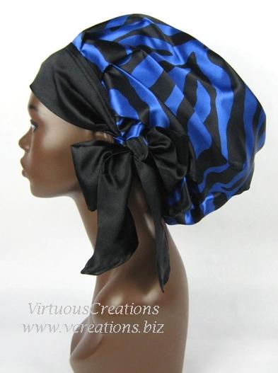 Sweet Sleep Satin Slumber Bonnet Cap-Zebra-Sapphire Blue and Black
