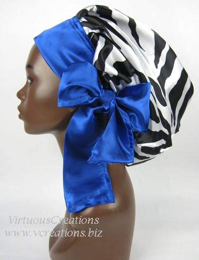 Satin Sleep Cap - Satin Bonnet  (Zebra Black And White with Sapphire Blue) Sleep Cap - Satin Sleep Bonnet