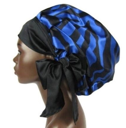 Satin Bonnet (Zebra-Sapphire Blue and Black) Satin Sleep Bonnet