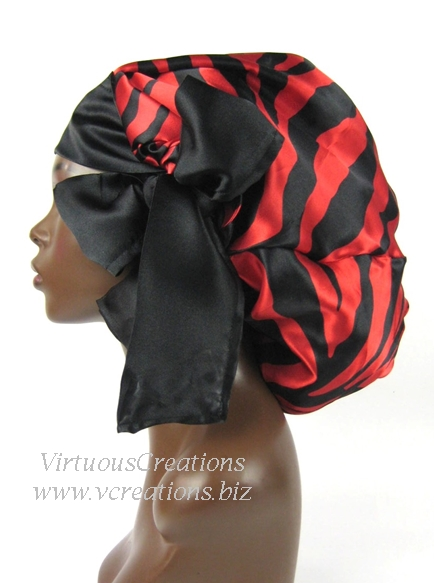 Satin Sleep Cap - Satin Bonnet (Zebra-Red and Black- Sleep Cap) Satin Sleep Bonnet