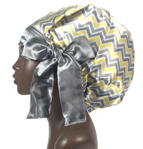 Satin Bonnet, Single Layered, (ZigZag Yellow/Gray/White), Satin Sleep Bonnet