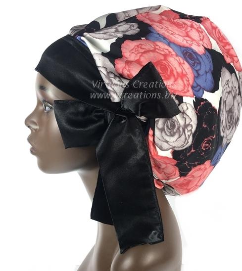 Satin Bonnet (Floral - Peach, Gray, Black & Tan) Satin Sleep Bonnet