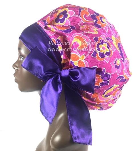 Satin Sleep Cap - Satin Bonnet (Floral-Fuchsia, Orange & Purple) Sleep Cap - Satin Sleep Bonnet