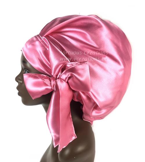 Satin Sleep Cap - Satin Bonnet (Fuchsia-Pink) Sleep Cap - Satin Sleep Bonnet