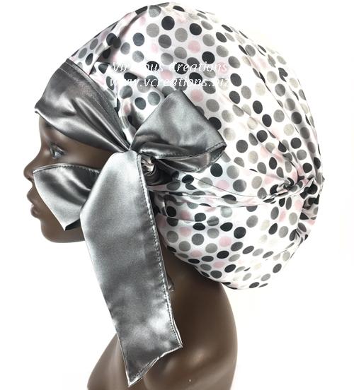 Satin Bonnet (Polka Dots- Gray, Pink, White) Satin Sleep Bonnet