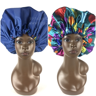 Extra Large Shower Cap (Royal Blue Polka Dots) 2 In 1 Satin Lined Jumbo Conditioning Cap