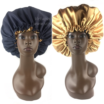 Extra Large Shower Cap (Navy and Gold) Waterproof Satin Lined Jumbo Bath Spa Cap