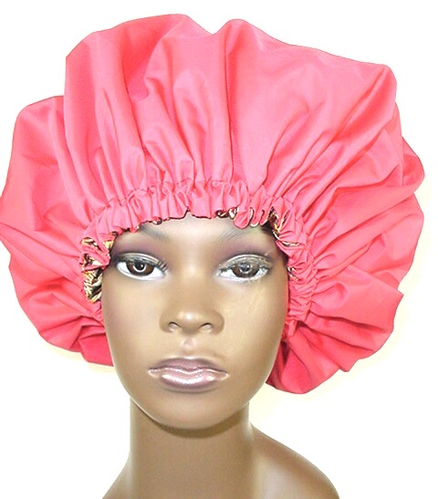 Extra Large Shower Cap (Red Cheetah) 2 In 1 Satin Lined Jumbo Conditioning Cap