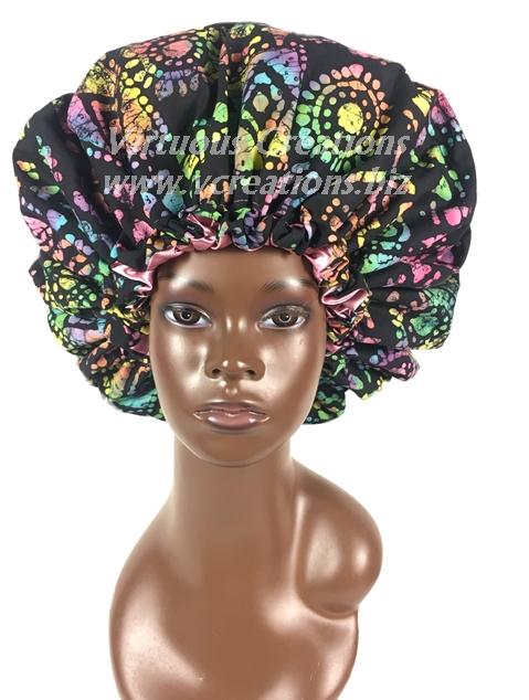 Satin Bonnet-Reversible-Cotton & Satin Lined-African Print Batik-With Drawstring-Extra Large