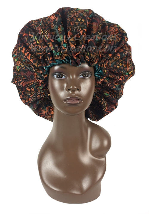 Satin Bonnet-Reversible-Cotton & Satin Lined-African Print Black Rust-With Drawstring-Extra Large