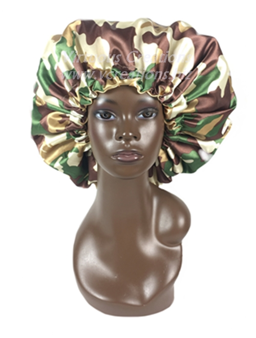 Satin Bonnet-Reversible-Camouflage & Taupe With Drawstring-Extra Large