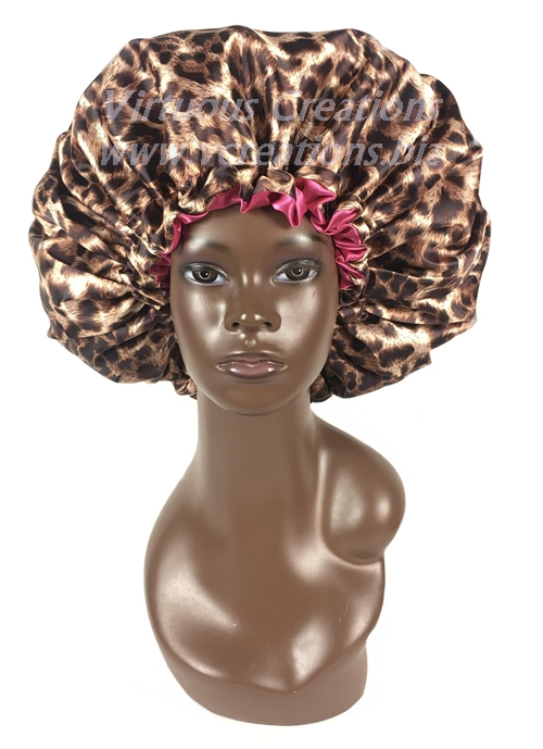 Satin Bonnet-Reversible-Cheetah Taupe with Fuchsia With Drawstring-Extra Large