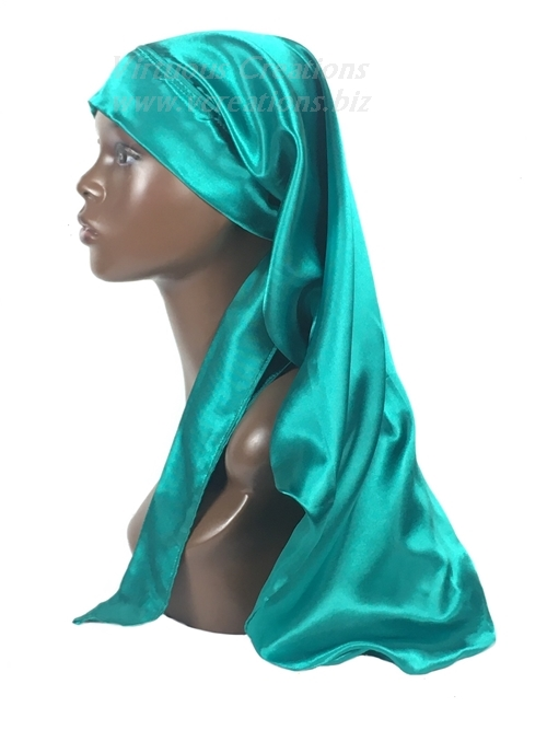 Extra Long Single Layered Satin Bonnet With Ties-Stays On Your Head (Teal)