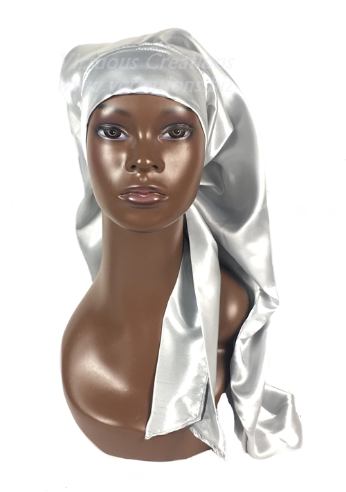Extra Long Single Layered Satin Bonnet With Ties-Stays On Your Head (Silver-Gray)