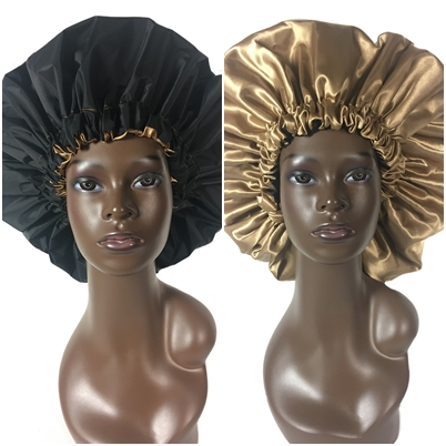 Extra Large Shower Cap (Black and Gold) Waterproof Satin Lined Jumbo Spa Bath Cap