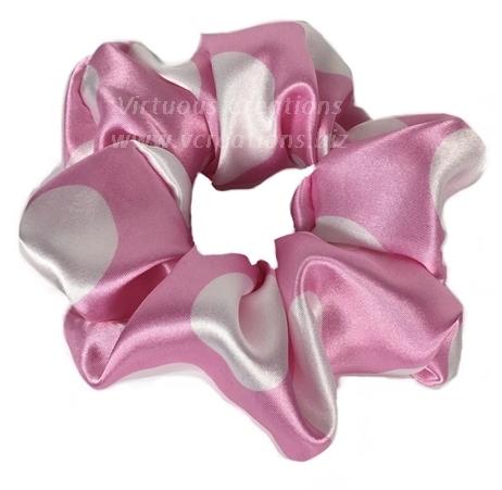 Satin Scrunchies (Polka Dots-Pink and White) Satin Scrunchy