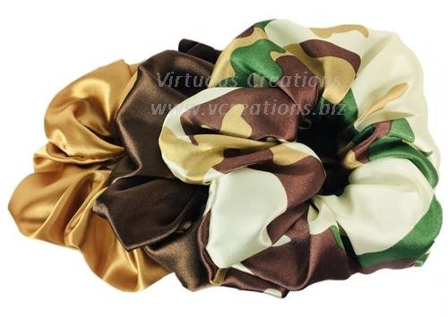 Satin Scrunchies (Set Of 3-Camouflage) Satin Scrunchy