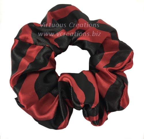 Satin Scrunchies (Zebra-Red and Black) Satin Scrunchy