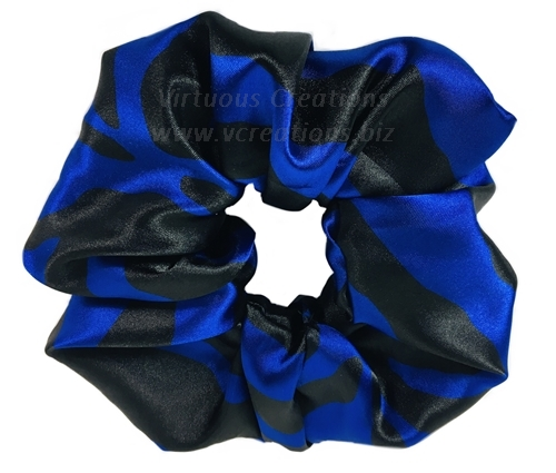 Satin Scrunchies (Zebra-Blue and Black) Satin Scrunchy