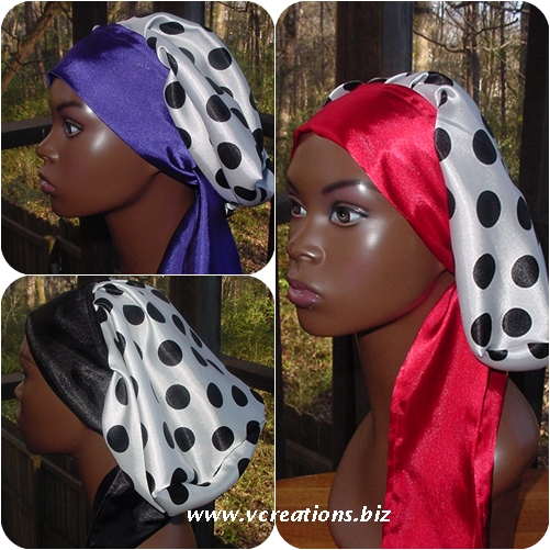 Satin Sleep Cap - Sleep Bonnet (Polka Dots-White and Black) Sleep Cap - Satin Bonnet